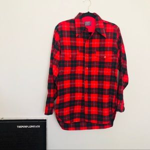 Vintage Pendleton Red/Navy/Green Plaid Wool Shirt